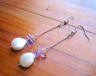 Mother of Pearl Earrings, Long Dangle Earrings, Peridot Earrings, Amethyst Earrings, Pearl Earrings, Wedding Earrings, Gift for Her