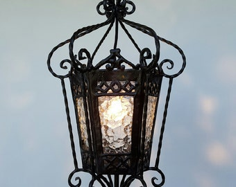 A very beautiful Vintage handmade Spanish wrought iron lantern, pendant,fixture