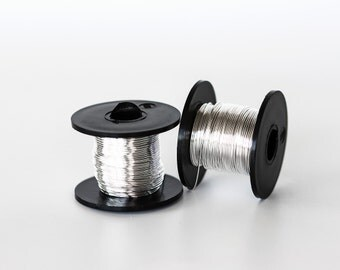 2173_Silver wire 22 gauge, Jewelry wire 0.6mm, Soft wire spool, Craft wire, Silver plated wire, Copper wire, Silver wire wrap, Bare wire_19m