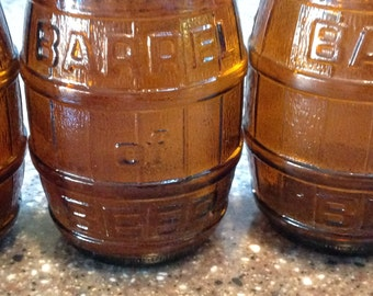 "4 VIntage Brown Glass ""Barrel of Beer"" Root Beer Bottles"