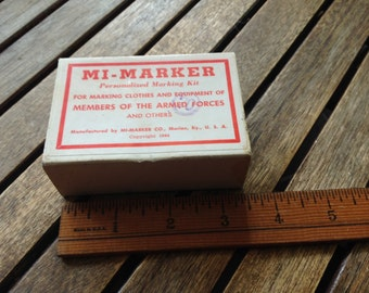 Vintage Army-Marker Personalized Marking Kit! Made by Mi-Marker Co.! c1944!