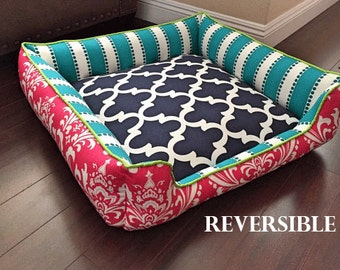 Chevron Dog Bed | Choose your own fabrics | Cat or Dog Bed | Washable Pet Bedding | Removable Cover | Reversible | Pet furntiture