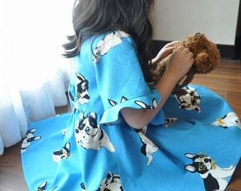 bulldog girl dress  handmade