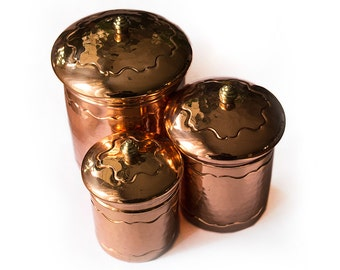 3-Piece Copper Lidded Jars, Kitchen Canisters, Storage Containers