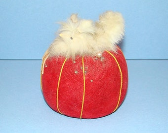 Old Sewing Tomato Pin Cushion Red Velveteen with White Dog Tagged Japan