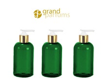 6 Shiny Green 8 Oz 240ml MODERN  PET Boston Round Plastic Bottles w/ Lotion Soap Pump SLEEK High End Private Label Packaging Spa, Haircare