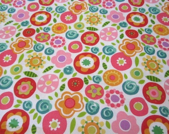 Mary Engelbreit Round the Garden Fabric White Background Multi Colored Flowers Pink Red Yellow Orange Cheery design By the Yard