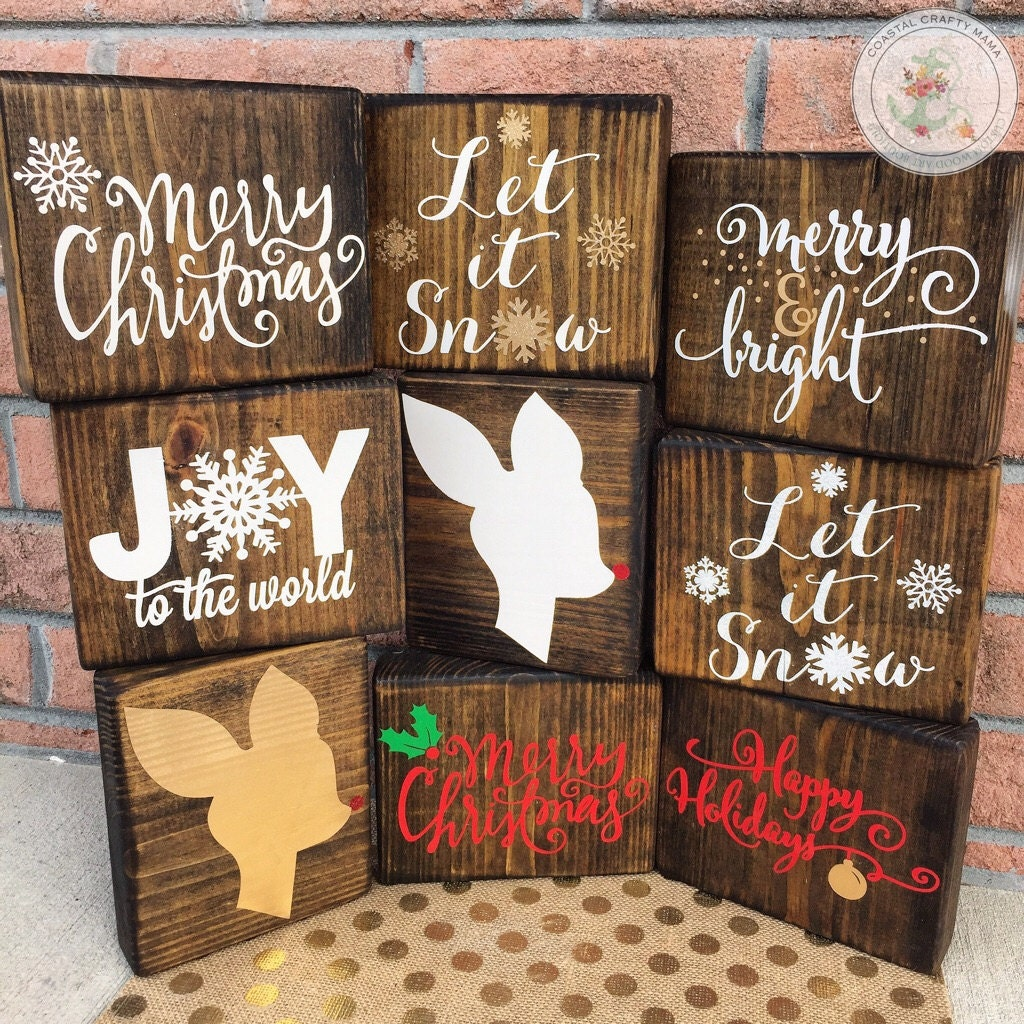 Christmas wood block set sign decor