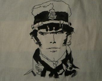 Corto Maltese raw cotton tote bag, hand-painted.