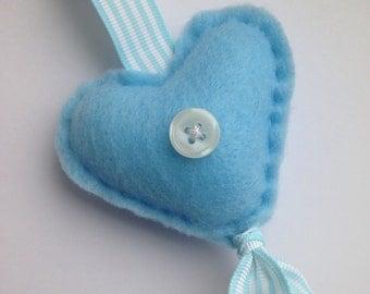 Blue and White Felt Heart Decoration