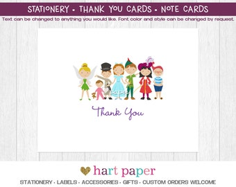 Peter Pan Tinkerbell Hook | Printed Thank You Cards Folded Flat Card Notecard Stationery Birthday Baby Shower Bridal Wedding Unique