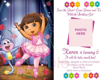 Dora Ballerina Invitation. Dora Ballerina Birthday Invitation, Dora Invitation. Digital (you print)
