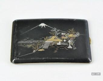 Old Cigarette Case from Japan Fuji Landscape 1920 Metal Case