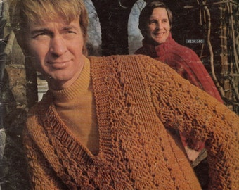 Vintage Knitting Pattern, Vintage Sweater Patterns, Mens Sweater Patterns, Bernat Men Book 169