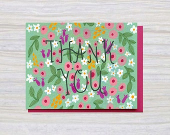 THANK YOU FLORAL | A2 Size | Greeting Card | Thank You Card | Thanks