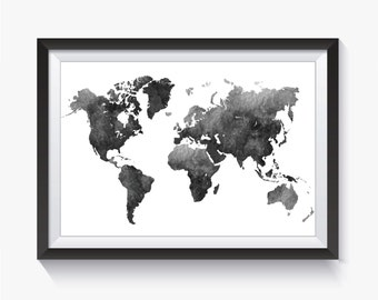 Black map etsy watercolor black watercolor black gray map black world map world map gumiabroncs Choice Image