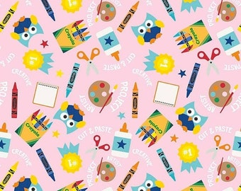 PRE-ORDER Riley Blake - Colorfully Creative - Crayola - Main - C5400-Pink - Back to School - Fall - Autumn - Owls - Pink - Crayon - Crayons