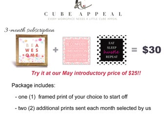 3-month Subscription Package - Office Print and Frame