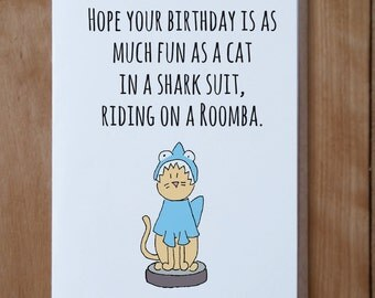 Shark Cat Birthday Card - Funny Cat Birthday