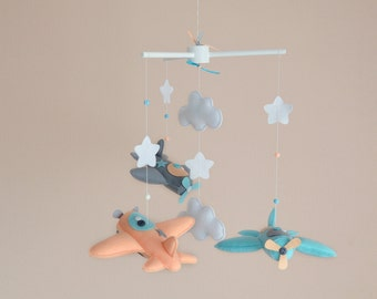 Airplane mobile - Baby mobile - Baby boy mobile - Nursery decor - Felt mobile - Crib mobile - Felt airplane - Airplane decor