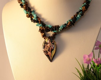 Multi-strand Turquoise Chip Necklace,Point Pendant with Murano Glass,   Gift for Her