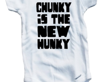 Chunky Is The New Hunky Cute Funny on The Laughing Giraffe 7.5 oz Baby Outfit One Piece