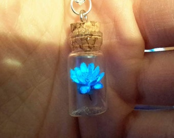 Single Flower Glow in the Dark Bottle Necklace
