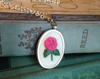 Rose hand-embroidered pendant necklace - you choose the color!