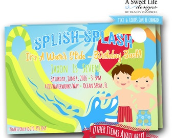 Water Slide Birthday Party Invitation - Water Fun Party - Splash Party Invitation - Pool Party Invite - Swim Party Invitation