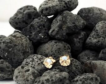 Swarovski stud earrings, gold earrings, dainty earrings, gift for her, bridesmaids gift,