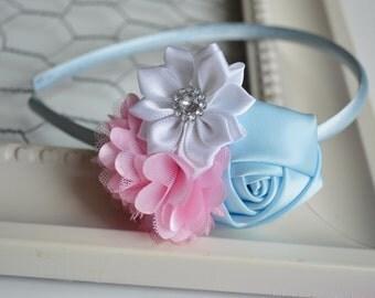 Easter Headband, Pink, Blue, White, Toddler Headband, Girls Headband, Toddler Easter Headband, Pastel, Spring,