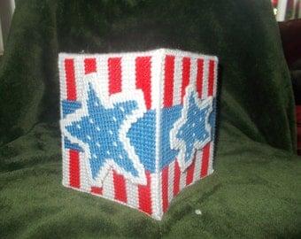 American themed tissue box holder