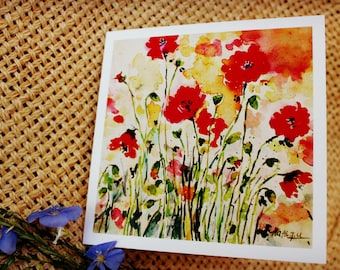 Greeting card, Art card, Poppies watercolor card, thank you card, card for her, Card with envelope