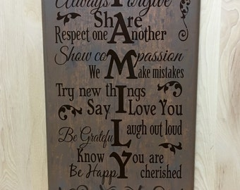 Family sign, wood sign custom, uplifting wall sign, birthday gift, rustic home decor, gift for her, housewarming gift