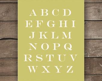 ABC Print, Chartreuse, Wall Print