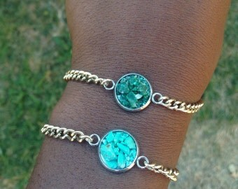Turquoise Green Aventurine Gold Bracelet Twin Pack - Two Gold Crystal Bracelets - Druzy cluster Green Blue Braceket Gold