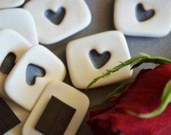 Ceramic Heart Magnets (Set of 3)- Ceramic, Valentines ( Handmade, Porcelain, Valentines, Heart Magnets, Love)