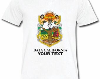 Baja California Mexico T-shirt V-Neck Tee Vapor Apparel with a FREE custom text(optional)