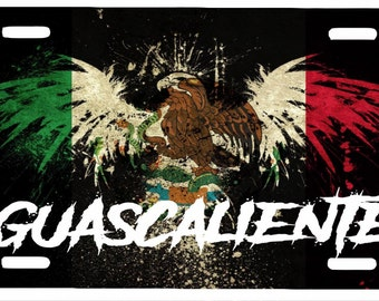 "Aguascalientes Mexico Aluminum License Plate Placa  6"" x 12"""