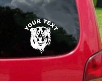 Set (2 Pieces) Bear Head  Sticker Decals with custom text 20 Colors To Choose From.  U.S.A Free Shipping