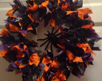 SALE! Handmade Halloween Spider Rag Wreath