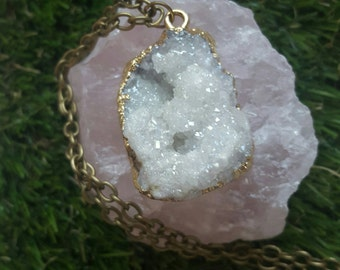 Angel Aura Quartz Druzy Geode  crystal necklace