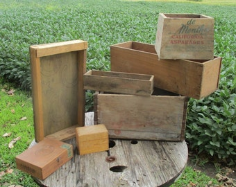 Lot Assorted Wooden Crates Boxes Storage Containers Vintage Advertising Sign L