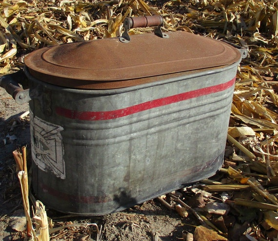 Boiler wash tub copper tin amish planter vintage by for Tin tub planters