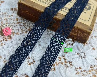 3 Yards Width 0.79 navy blue inches lace trim,cotton lace trim,trim lace for DIY dress,For flowers(63-127)