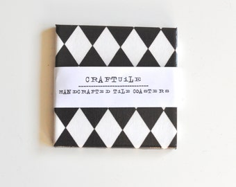 Ceramic Coasters Harlequin Pattern Set of 4, Black and White Coasters Set of 4, Tile Coasters Set of 4
