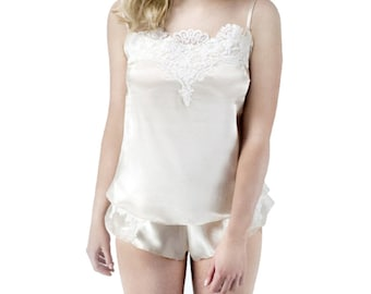 Luxury Silk Camisole - handmade luxury lingerie made in 100% silk and French Lace