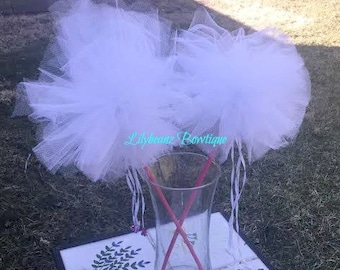 Set of 2 Fairy Wands, Custom Fairy Wands, Fairy Party Favors, Princess Tulle Wands, Pom Pom Tulle Wands, Magic Fairy Wands, Custom Made Wand