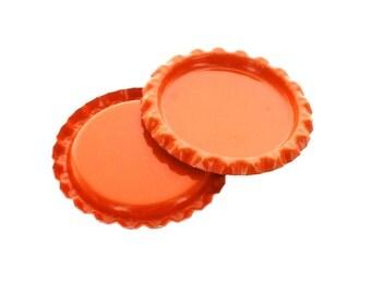 10 Caps - Flattened Orange Bottle Caps