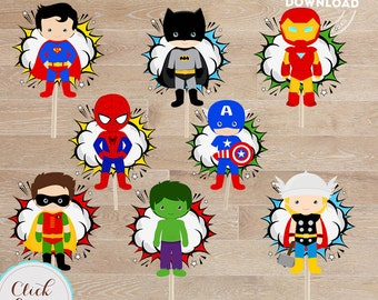 Superhero Centerpiece, Superhero Table Centerpiece, Superhero Cake Topper, Cupcake toppers, Birthday Party Supplies, Wall Decor, Decorations